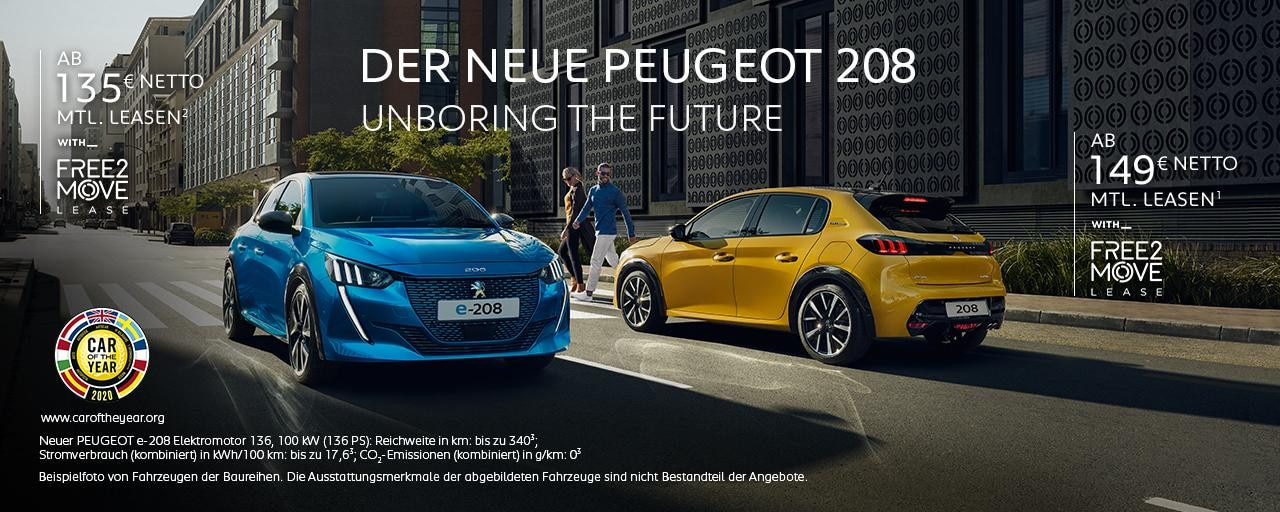 Neuer PEUGEOT 208 und Elektrofahrzeug PEUGEOT e-208 - Leasing Angebote