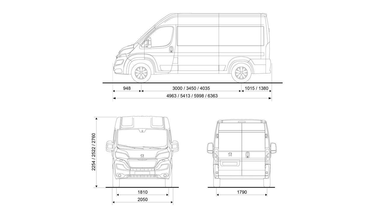 PEUGEOT-Boxer-Kastenwagen-Abmessungen-außen