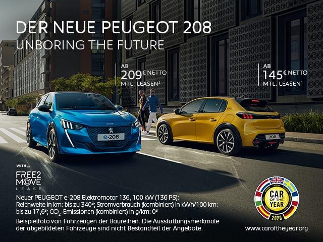 Neuer PEUGEOT 208 und Elektrofahrzeug PEUGEOT e-208 – Leasing Angebote entdecken