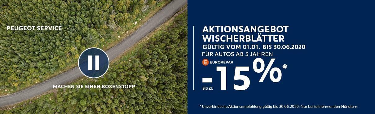 Aktionsangebot PEUGEOT Wischerblaetter fuer Fahrzeuge ab 3 Jahren