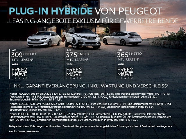 Plug-In Hybridfahrzeuge von PEUGEOT – Leasing Angebote