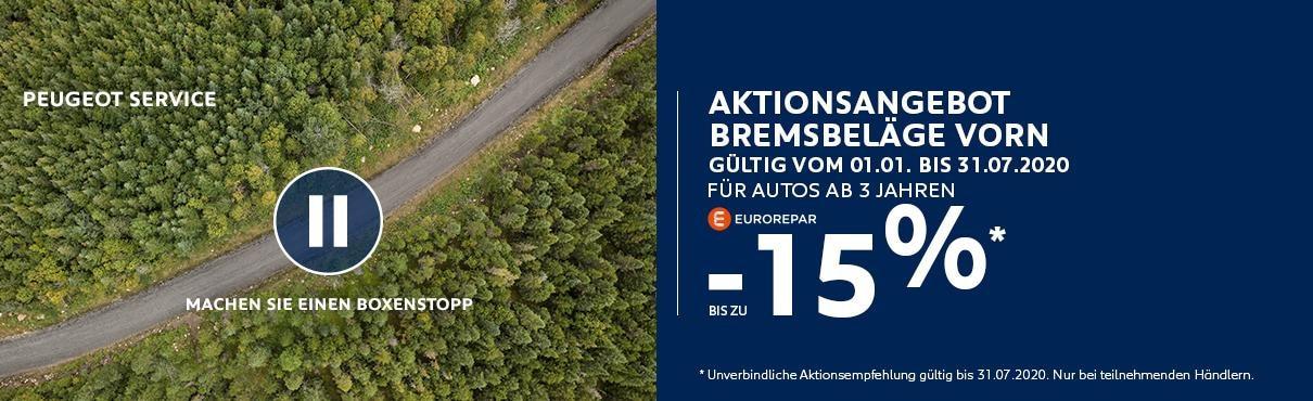 PEUGEOT Aktionsangebot zu Bremsbelaegen fuer Autos ab 3 Jahren